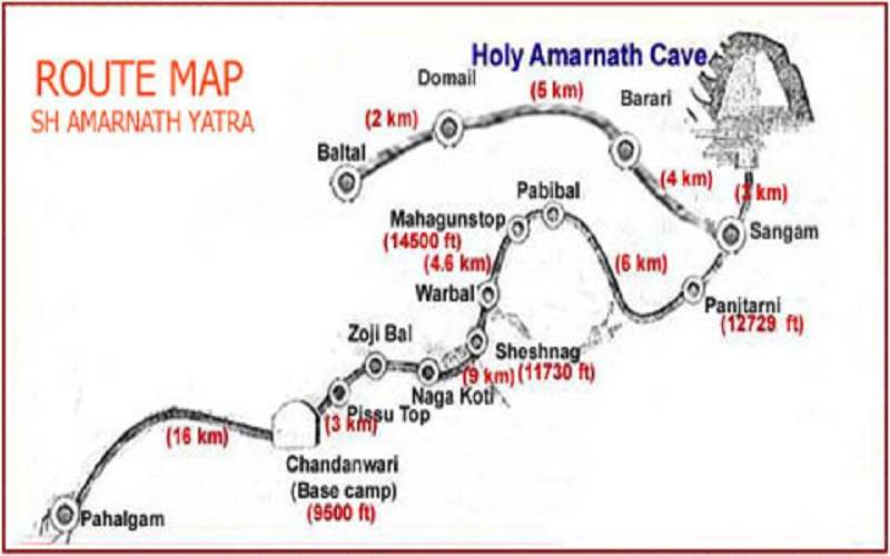 Route Map Amarnath Gufa